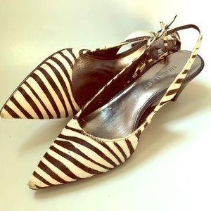 Nine West Leather Zebra Print Kitten Heels